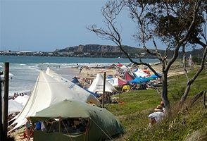 El acampar en la playa del sur, Texas